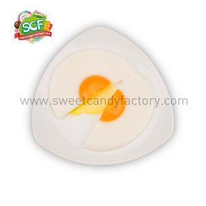 fried egg gummy with fruit jam inside